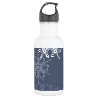 Sophisticated blue/gray snowflakes 18oz water bottle