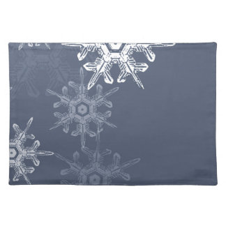 Sophisticated blue/gray snowflakes cloth placemat