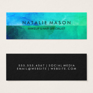 Sophisticated Blue Green Watercolor Mini Business Card