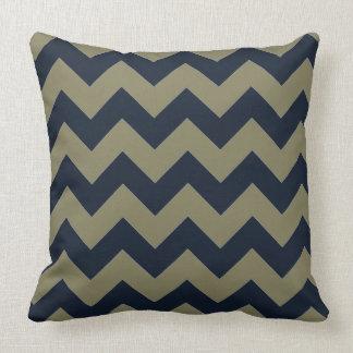 Sophisticated Blue & Smokey Green Chevron Pattern Throw Pillow