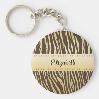 Sophisticated Brown and Gold Tiger Print With Name Basic Round Button Keychain