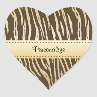 Sophisticated Brown and Gold Tiger Print With Name Heart Sticker