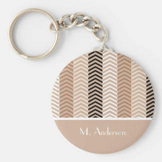 Sophisticated Brown Chevron Stripes With Name Keychain
