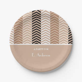 Sophisticated Brown Chevron Stripes With Name Paper Plate