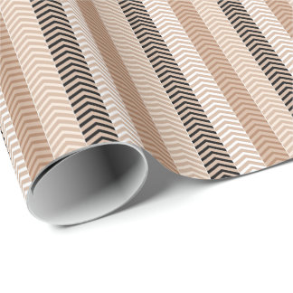 Sophisticated Brown Variegated Chevron Stripes Wrapping Paper