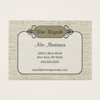 Sophisticated Chic Wine Business Card