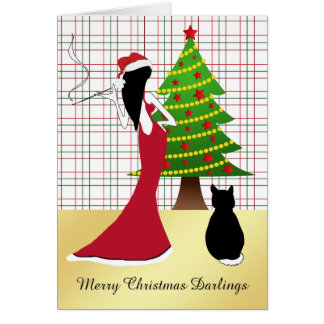Sophisticated Christmas Card with Woman
