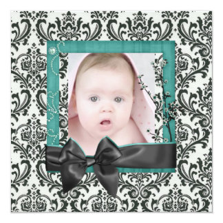 Sophisticated Damask Photo Birth Announcement
