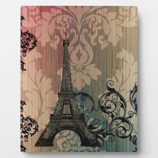 sophisticated damask swirls paris eiffel tower plaque