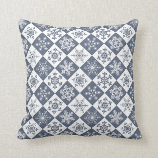 Sophisticated Elegance Soft Grey Snowflake Holiday Throw Pillow