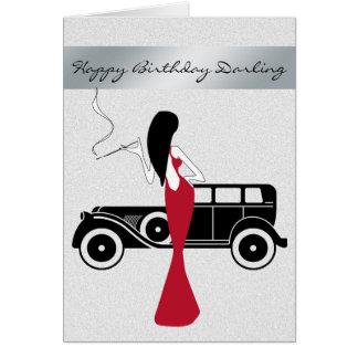 Sophisticated Elegant Chic Woman Happy Birthday Greeting Card