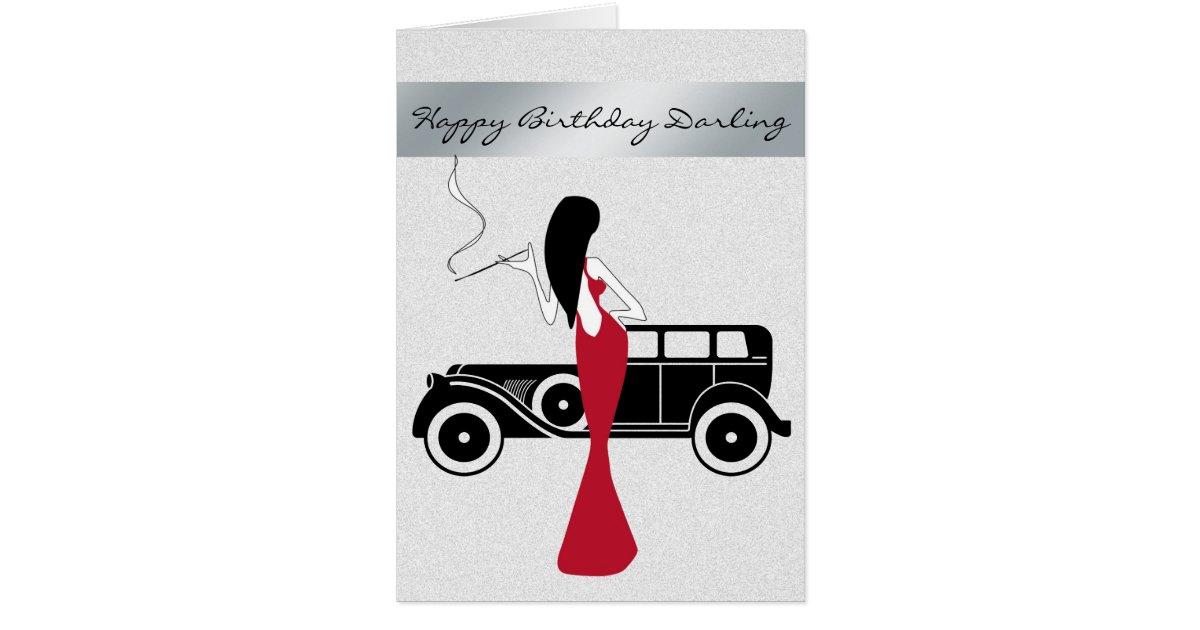 Sophisticated Elegant Chic Woman Happy Birthday Card