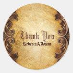 Sophisticated Elegant  vintage wedding thankyou Round Sticker