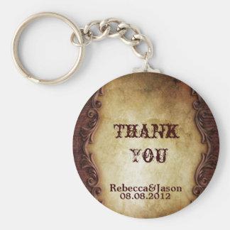 Sophisticated Elegant western vintage thankyou Basic Round Button Keychain