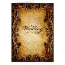 Sophisticated Elegant  western vintage wedding Card
