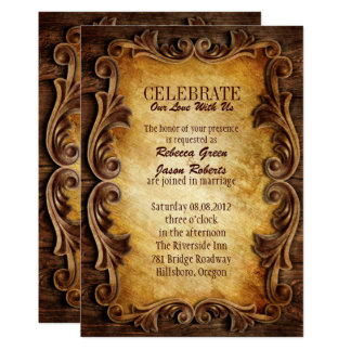 Sophisticated Elegant  western vintage wedding Invitation