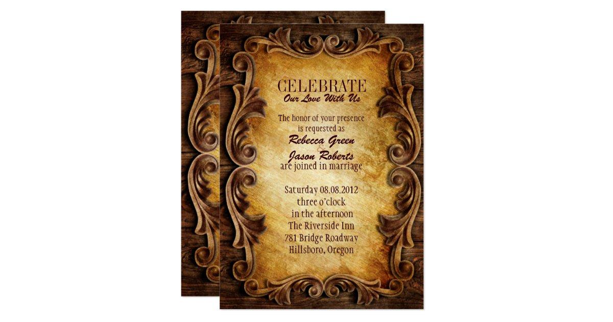 Western Wedding Invites: Sophisticated Elegant Western Vintage Wedding Invitation
