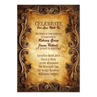 "Sophisticated Elegant western vintage wedding 5"" X 7"" Invitation Card"
