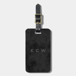 Sophisticated Faux Stamped Mottled Black Luggage Tag
