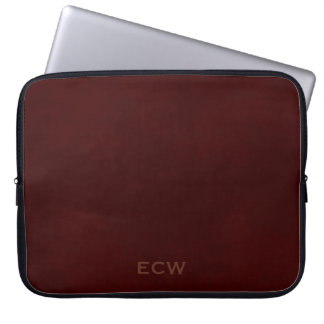 * Sophisticated Faux Stamped Mottled Brown Laptop Sleeves
