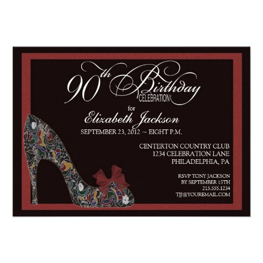 Sophisticated Floral Shoe 90th Birthday Invite Red