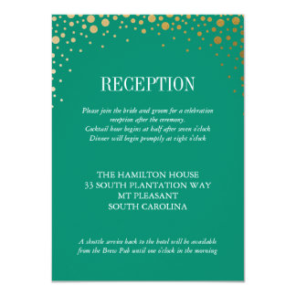 Sophisticated Gold Dot Balmoral Wedding Reception Card