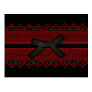 Sophisticated Gothic Black Red Lace Fashion Postcard