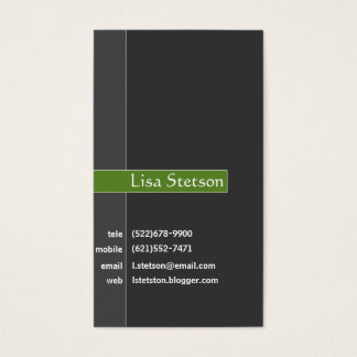 Sophisticated Gray and Green Business Card