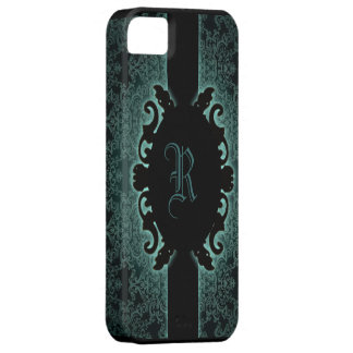 Sophisticated green vintage monogram iphone5 case iPhone 5 cases