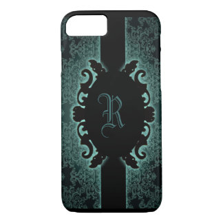 Sophisticated green vintage monogram iPhone 7 case