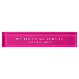 Sophisticated in Hot Pink | Desk Name Plate
