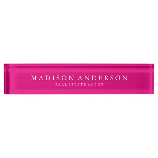 Sophisticated in Hot Pink Desk Name Plate