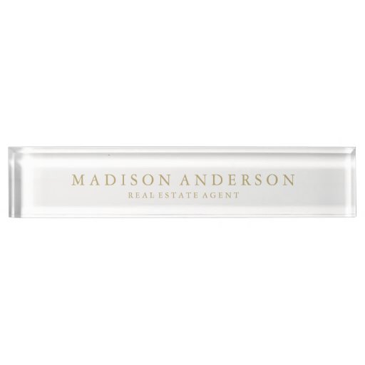Sophisticated In White Gold Desk Name Plate Zazzle