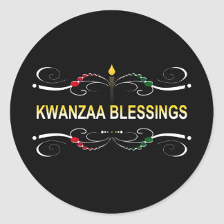sophisticated kwanzaa blessings classic round sticker