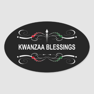sophisticated kwanzaa blessings oval sticker