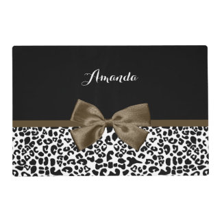 Sophisticated Leopard Print Brown Bow With Name Laminated Place Mat