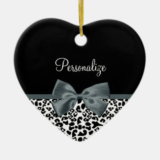 Sophisticated Leopard Print Gray Bow With Name Ceramic Ornament