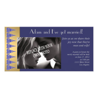 Sophisticated marriage photo announcement template customized photo card