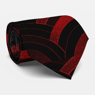 sophisticated modern curved  red/black chevron neck tie