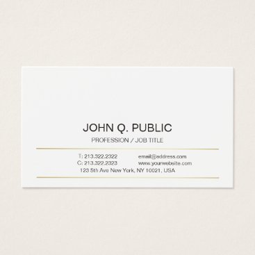 Lawyer Themed Sophisticated Modern Gold Striped Sleek Plain Business Card