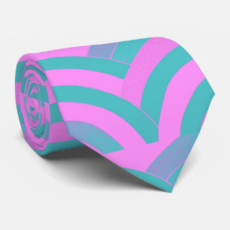 sophisticated modern pink/green curved chevron neck tie