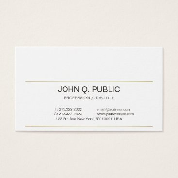 Lawyer Themed Sophisticated Modern Simple Plain Gold Striped Business Card