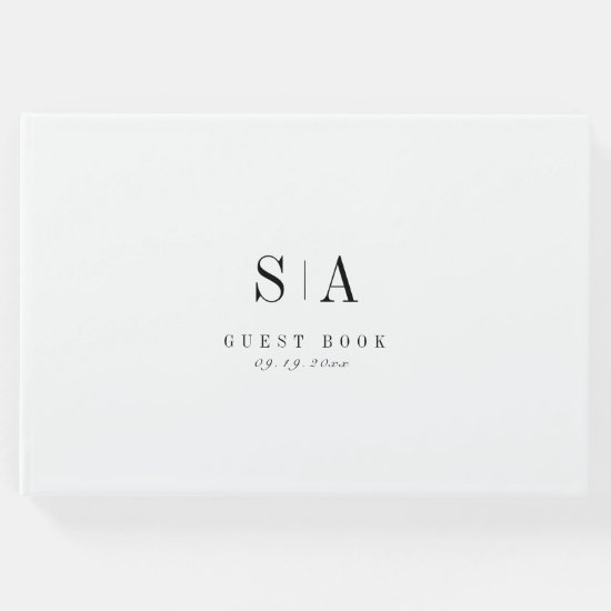 Sophisticated monogram black and white minimalist guest book