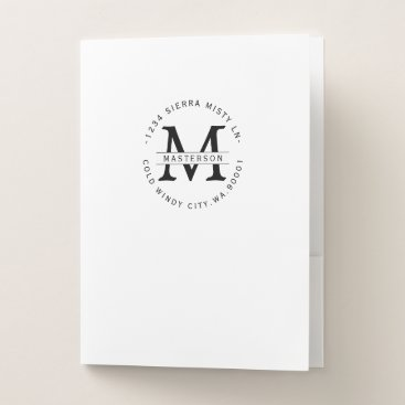Professional Business Sophisticated Monogram Black & White Circular Type Pocket Folder