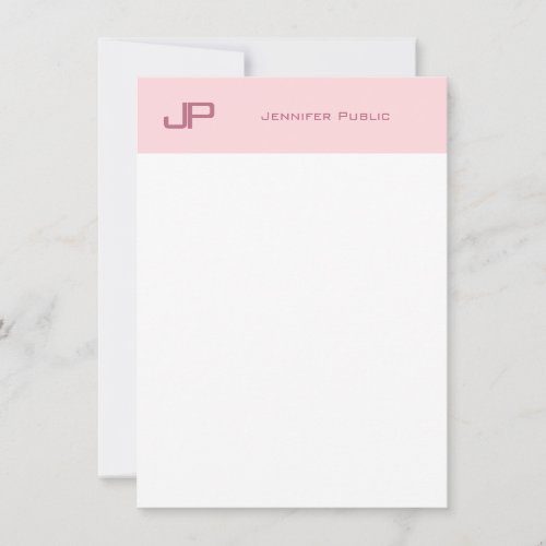 Sophisticated Monogram Blush Pink White Simple Note Card