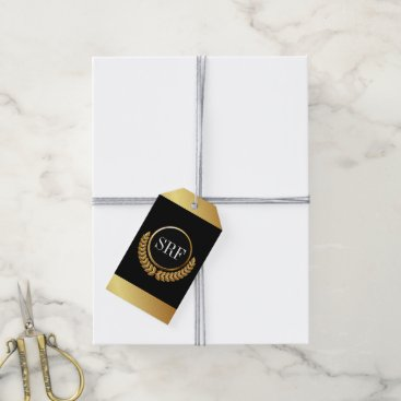 Professional Business Sophisticated Monogram Gold Look Gift Tags