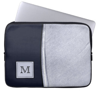 Sophisticated Navy and Silver Feather Monogram Computer Sleeve
