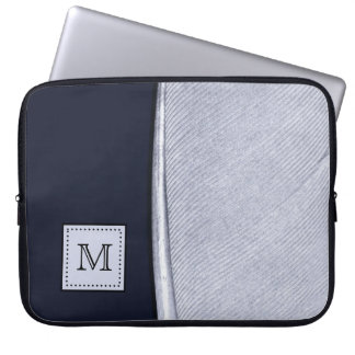 Sophisticated Navy and Silver Feather Monogram Laptop Computer Sleeves