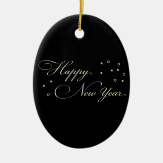 Sophisticated New Year's Eve, Black and Tan Ceramic Ornament