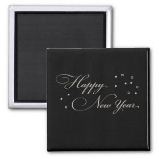 Sophisticated New Year's Eve, Black and Tan 2 Inch Square Magnet